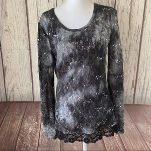 Buckle BKE black lacy sequin long sleeve size L
